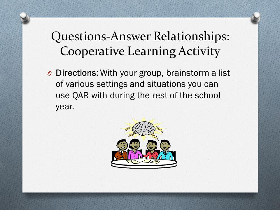 Questions-Answer Relationships: Cooperative Learning Activity