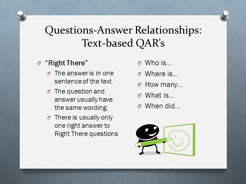 Questions-Answer Relationships: Text-based QAR's