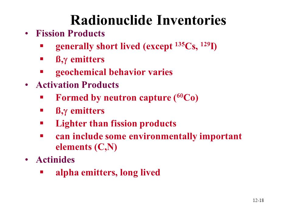 Radionuclide Inventories