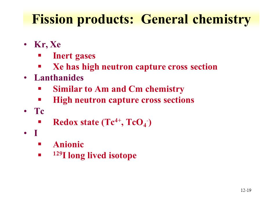Fission products: General chemistry