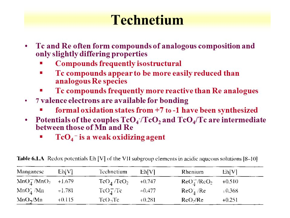 Technetium Tc and Re often form compounds of analogous composition and only slightly differing properties.