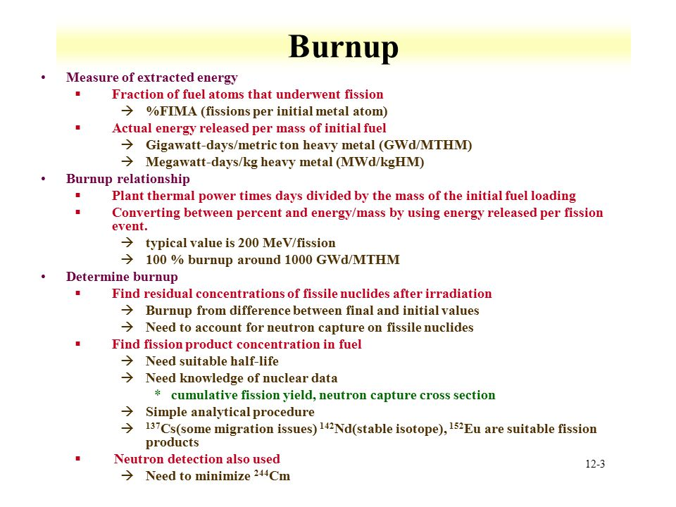 Burnup Measure of extracted energy
