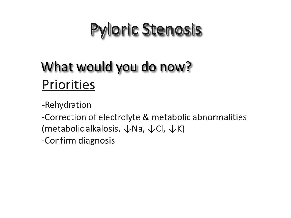 Pyloric Stenosis What would you do now Priorities