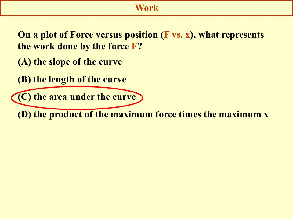 Work On a plot of Force versus position (F vs. x), what represents the work done by the force F (A) the slope of the curve.