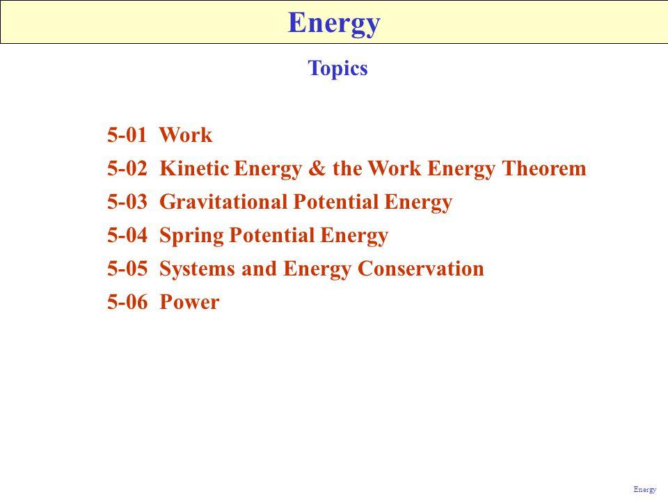 Energy Topics 5-01 Work 5-02 Kinetic Energy & the Work Energy Theorem