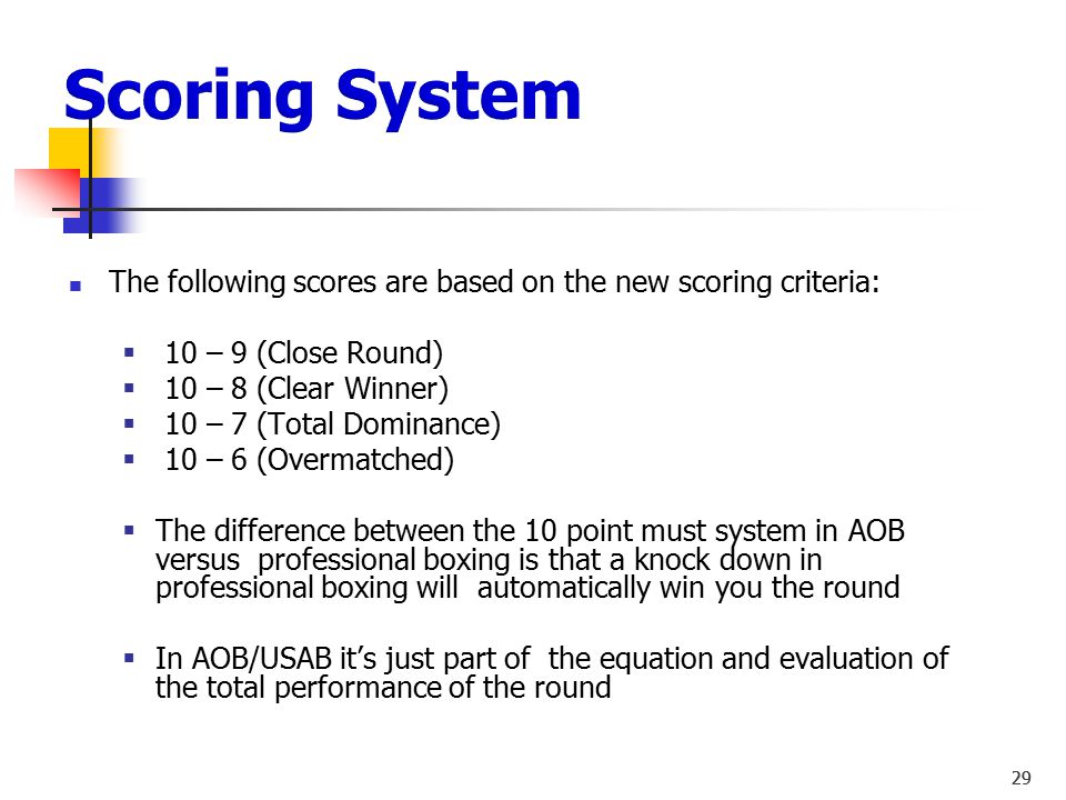 Scoring System The following scores are based on the new scoring criteria: 10 – 9 (Close Round) 10 – 8 (Clear Winner)
