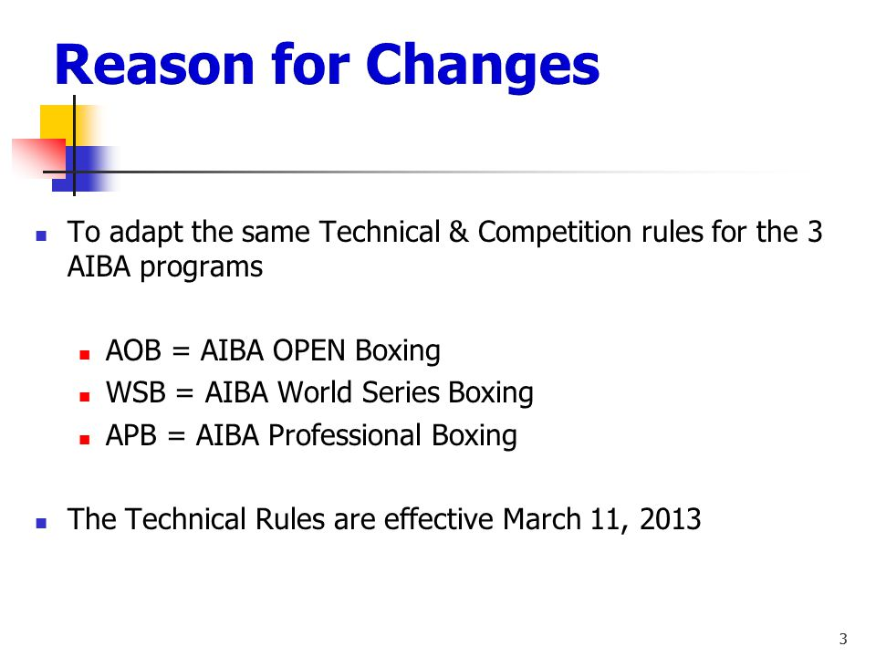 Reason for Changes To adapt the same Technical & Competition rules for the 3 AIBA programs. AOB = AIBA OPEN Boxing.