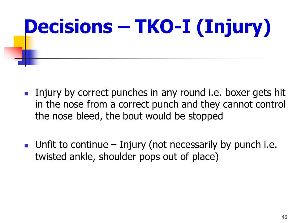 Decisions – TKO-I (Injury)