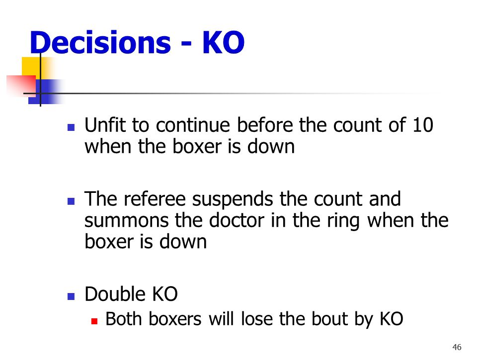 Decisions - KO Unfit to continue before the count of 10 when the boxer is down.