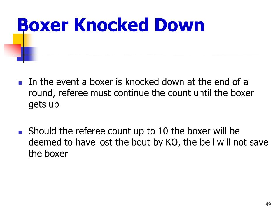 Boxer Knocked Down In the event a boxer is knocked down at the end of a round, referee must continue the count until the boxer gets up.
