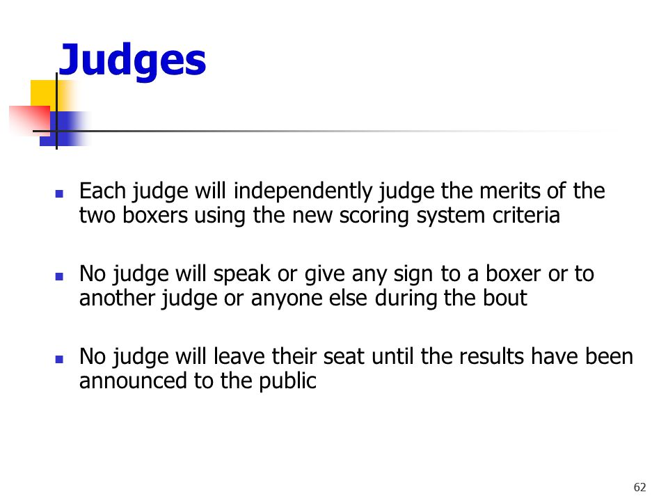 Judges Each judge will independently judge the merits of the two boxers using the new scoring system criteria.