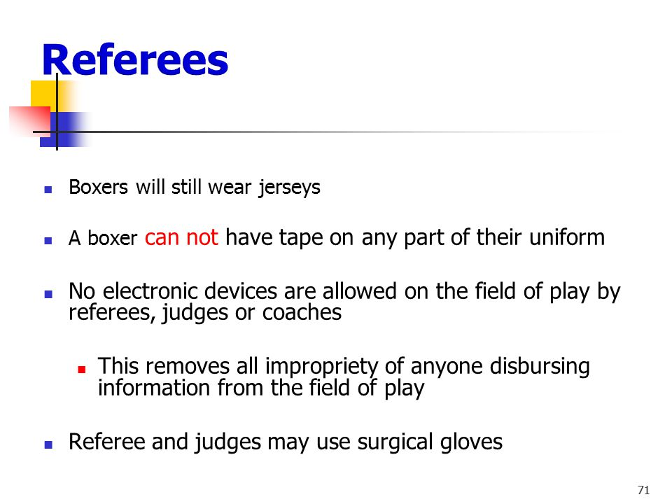 Referees Boxers will still wear jerseys. A boxer can not have tape on any part of their uniform.