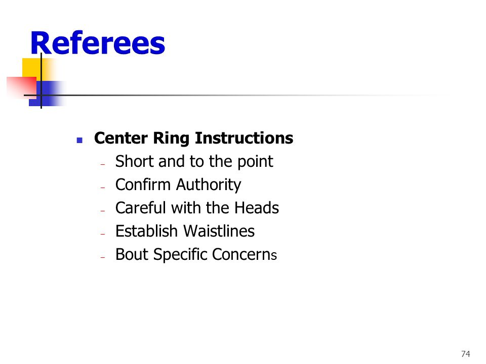 Referees Center Ring Instructions Short and to the point