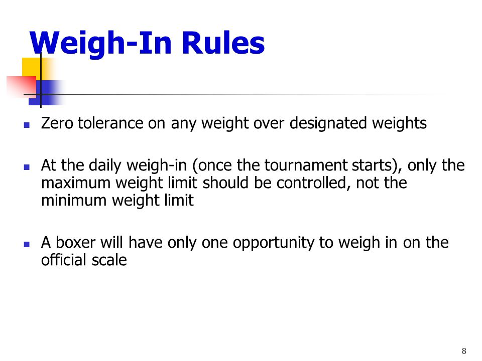 Weigh-In Rules Zero tolerance on any weight over designated weights