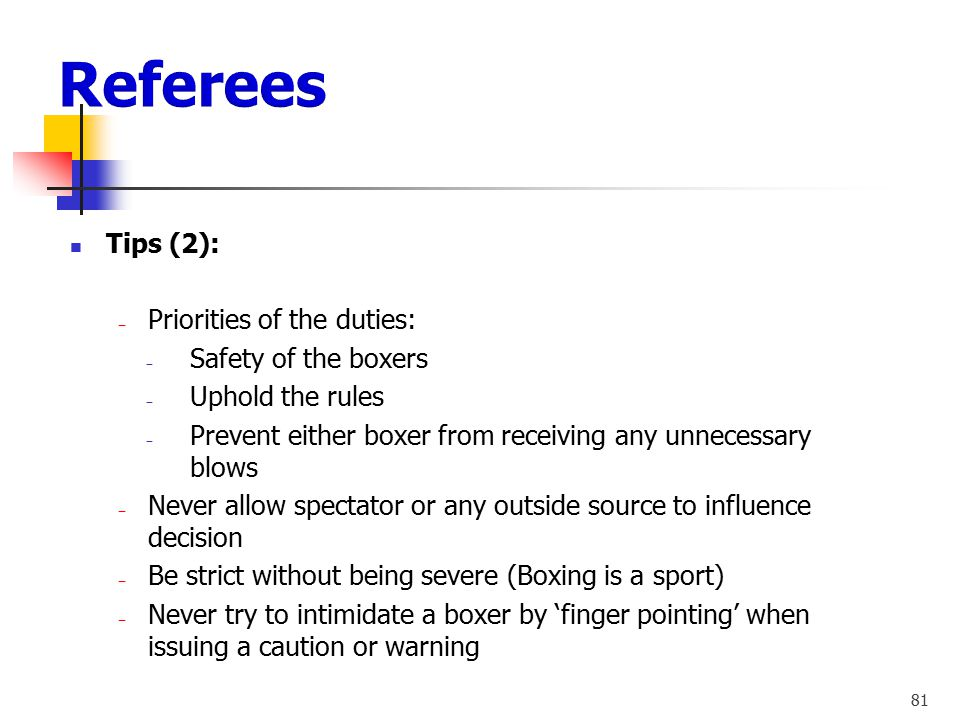 Referees Tips (2): Priorities of the duties: Safety of the boxers