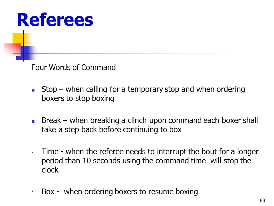 Referees Four Words of Command