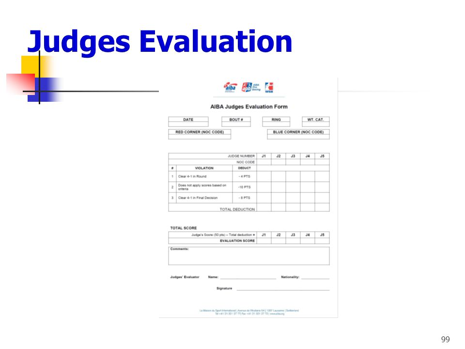 Judges Evaluation