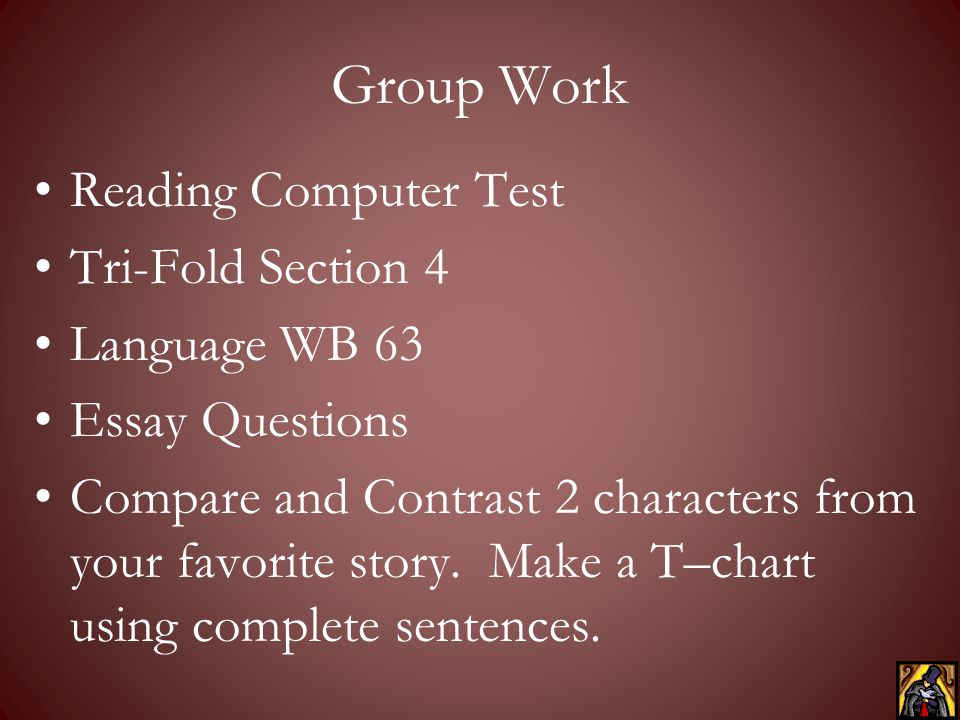 Group Work Reading Computer Test Tri-Fold Section 4 Language WB 63