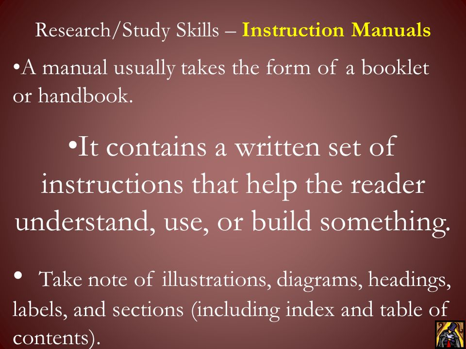 Research/Study Skills – Instruction Manuals