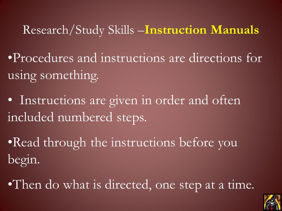 Research/Study Skills –Instruction Manuals