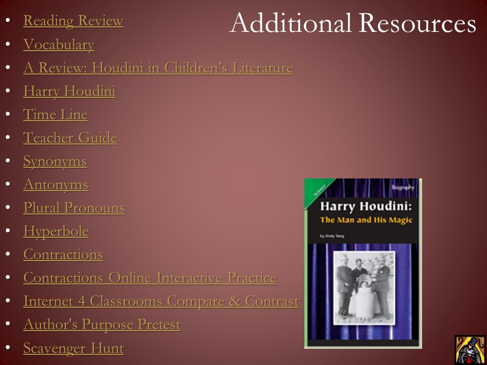Additional Resources Reading Review Vocabulary