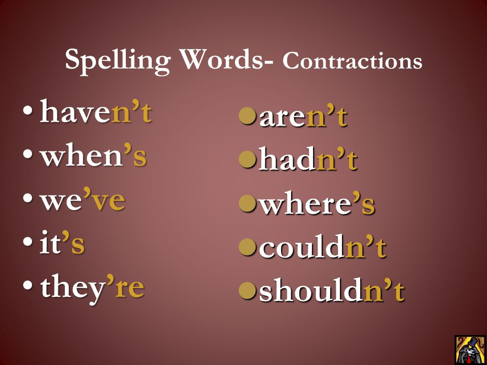 Spelling Words- Contractions