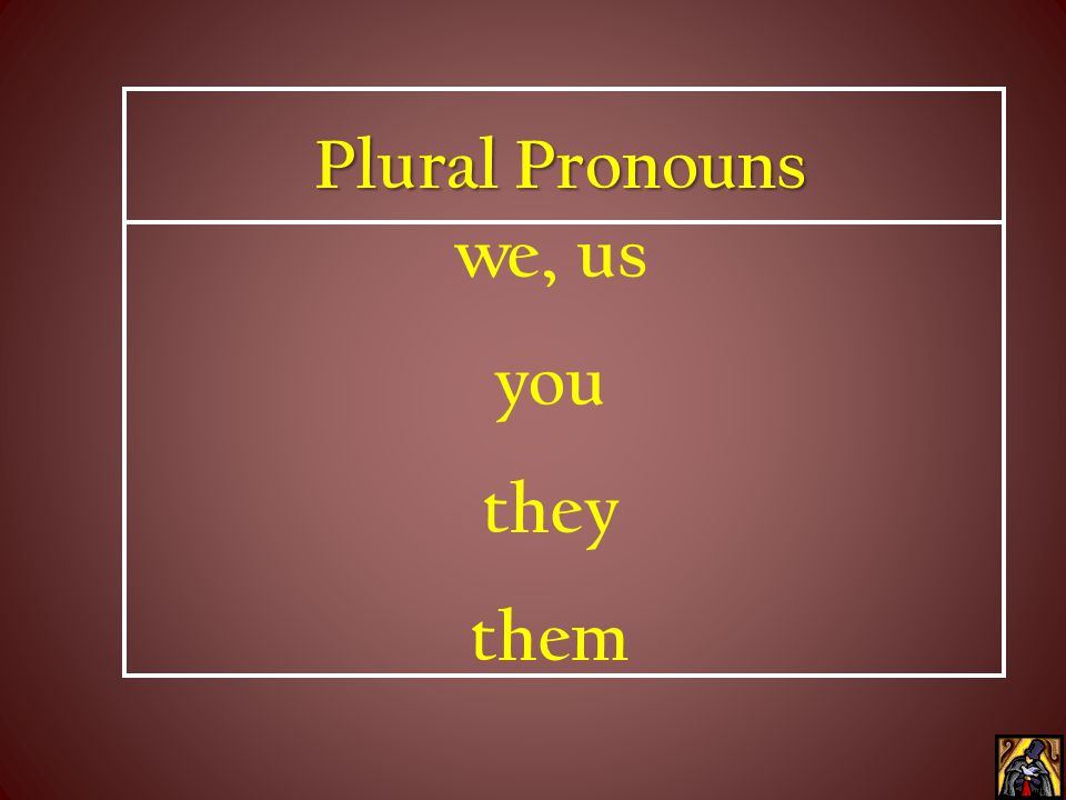 Plural Pronouns we, us you they them