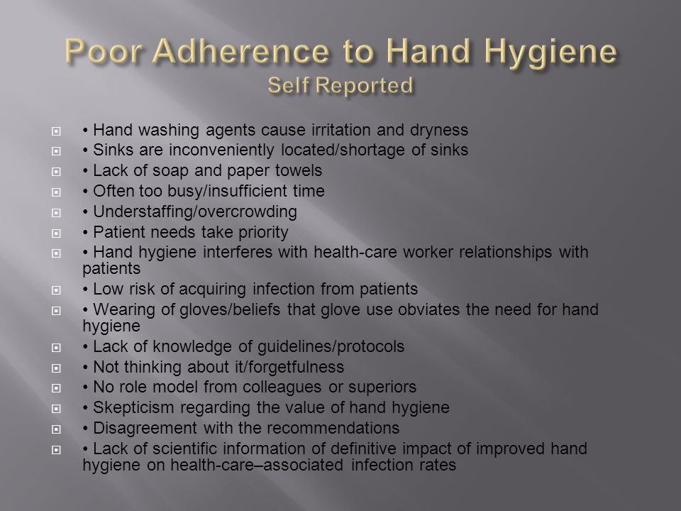 Poor Adherence to Hand Hygiene Self Reported