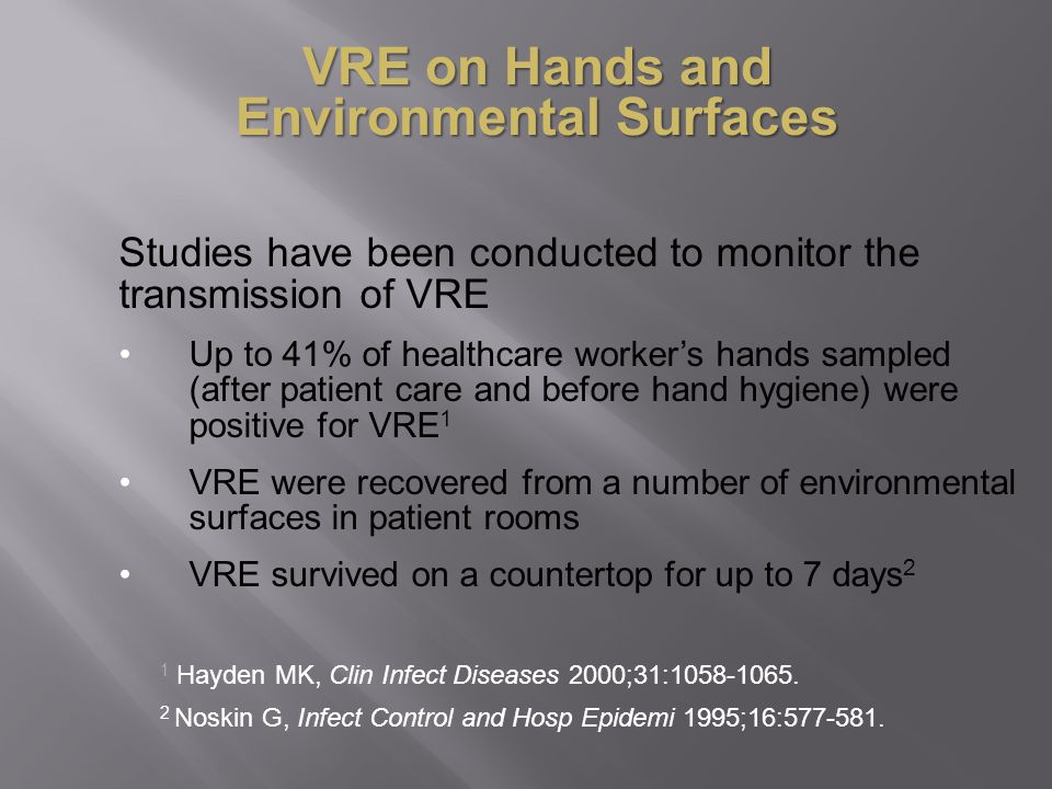 VRE on Hands and Environmental Surfaces