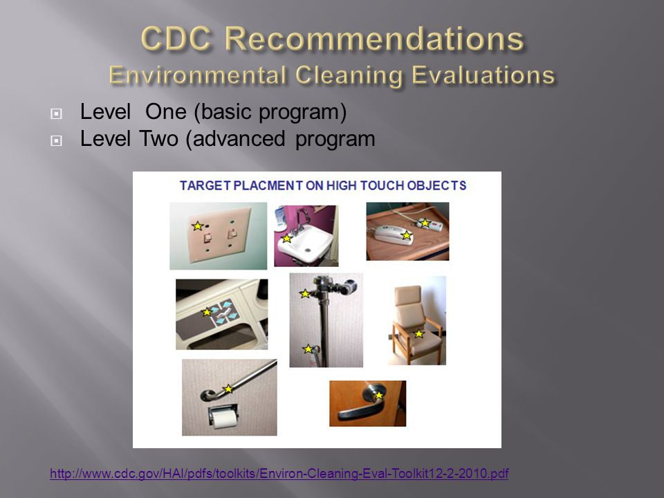 CDC Recommendations Environmental Cleaning Evaluations