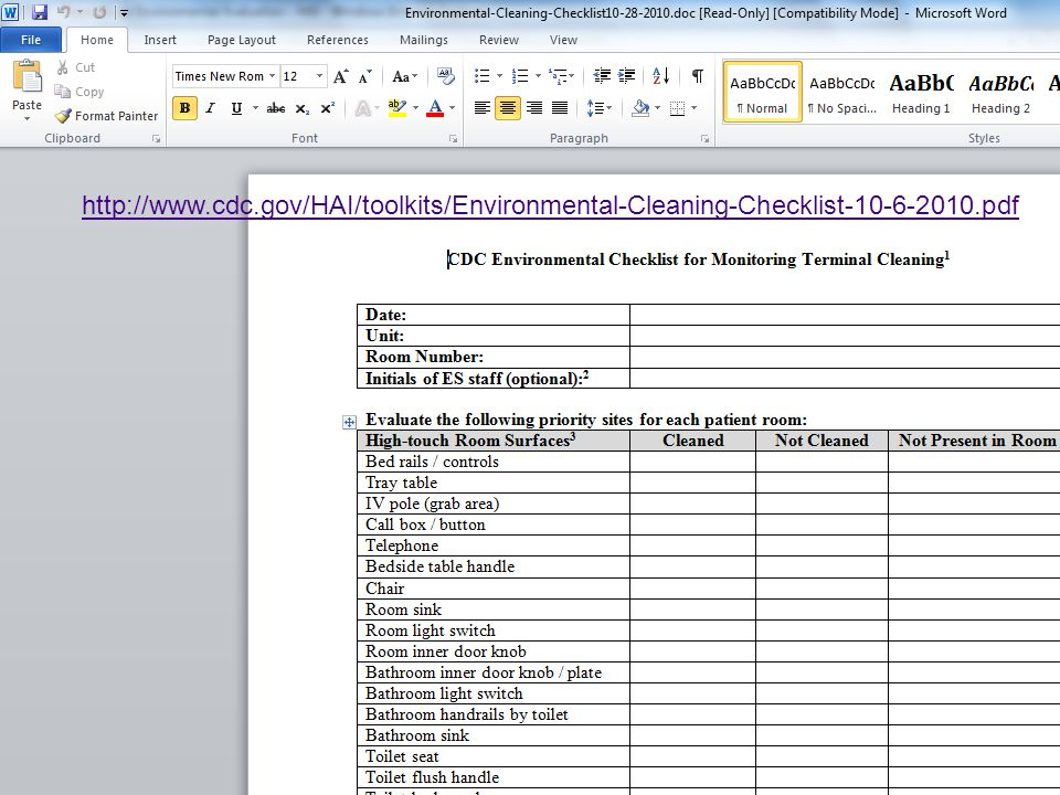 http://www.cdc.gov/HAI/toolkits/Environmental-Cleaning-Checklist-10-6-2010.pdf