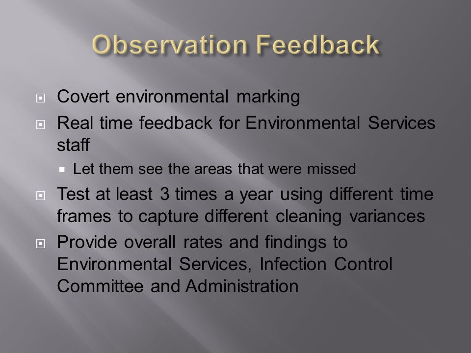 Observation Feedback Covert environmental marking