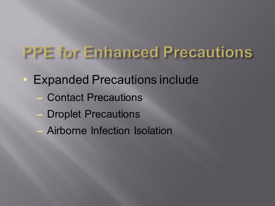 PPE for Enhanced Precautions