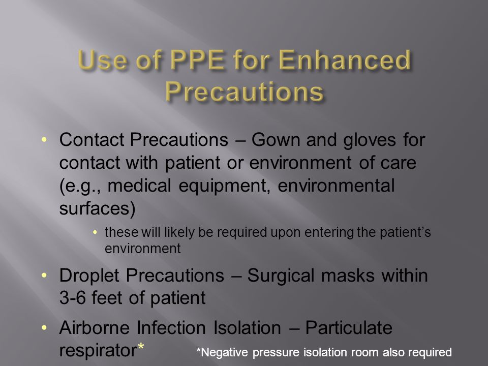 Use of PPE for Enhanced Precautions