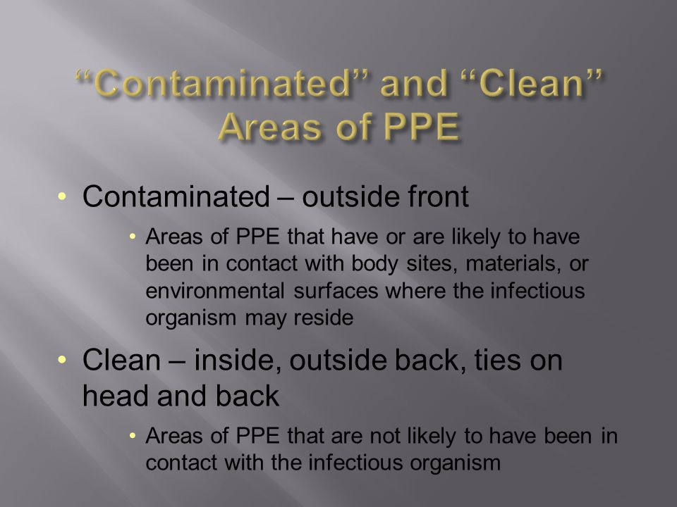 Contaminated and Clean Areas of PPE