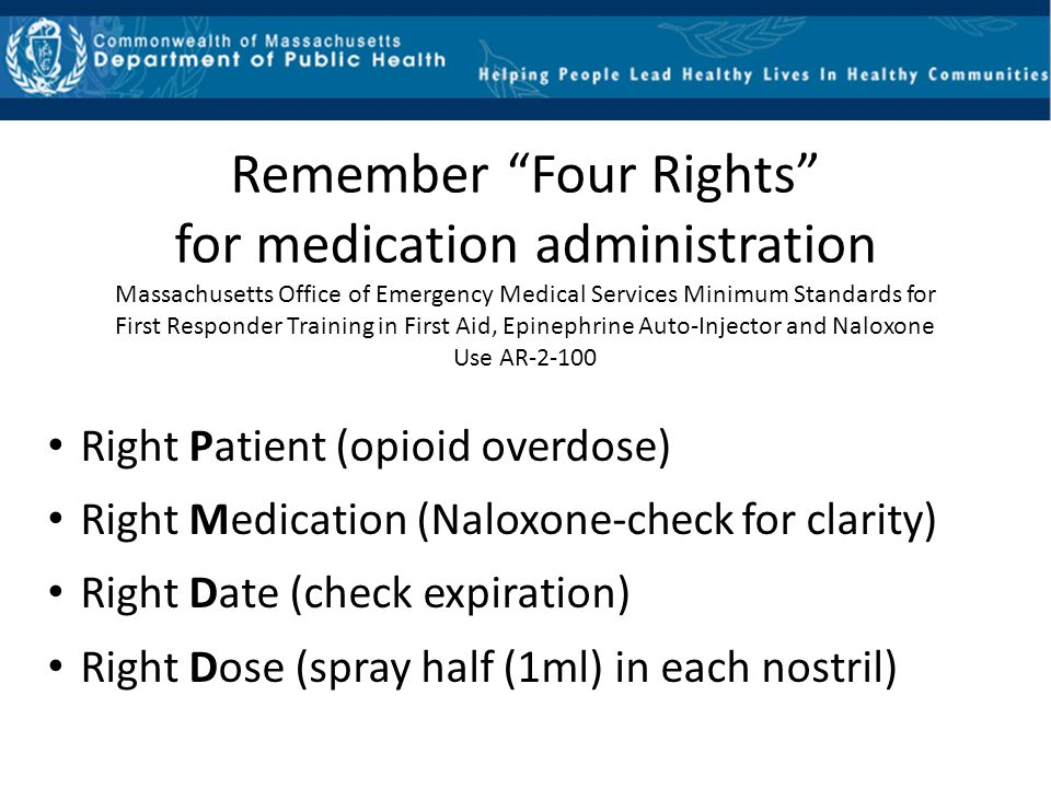 Remember Four Rights for medication administration
