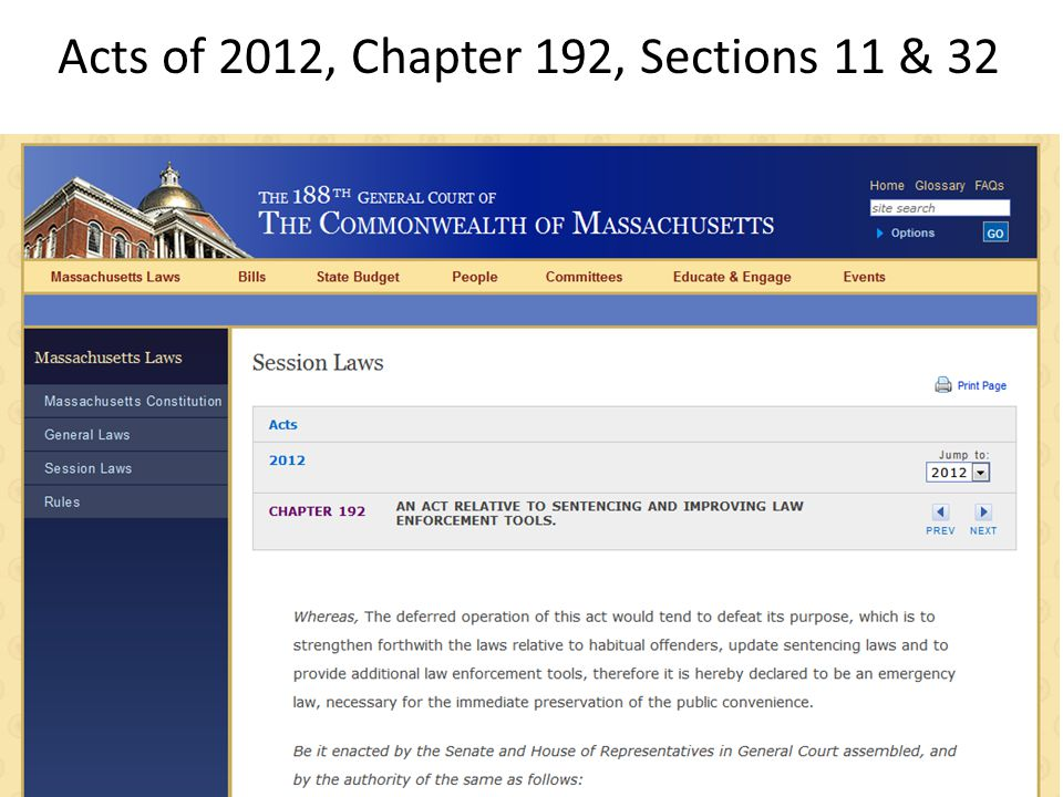 Acts of 2012, Chapter 192, Sections 11 & 32
