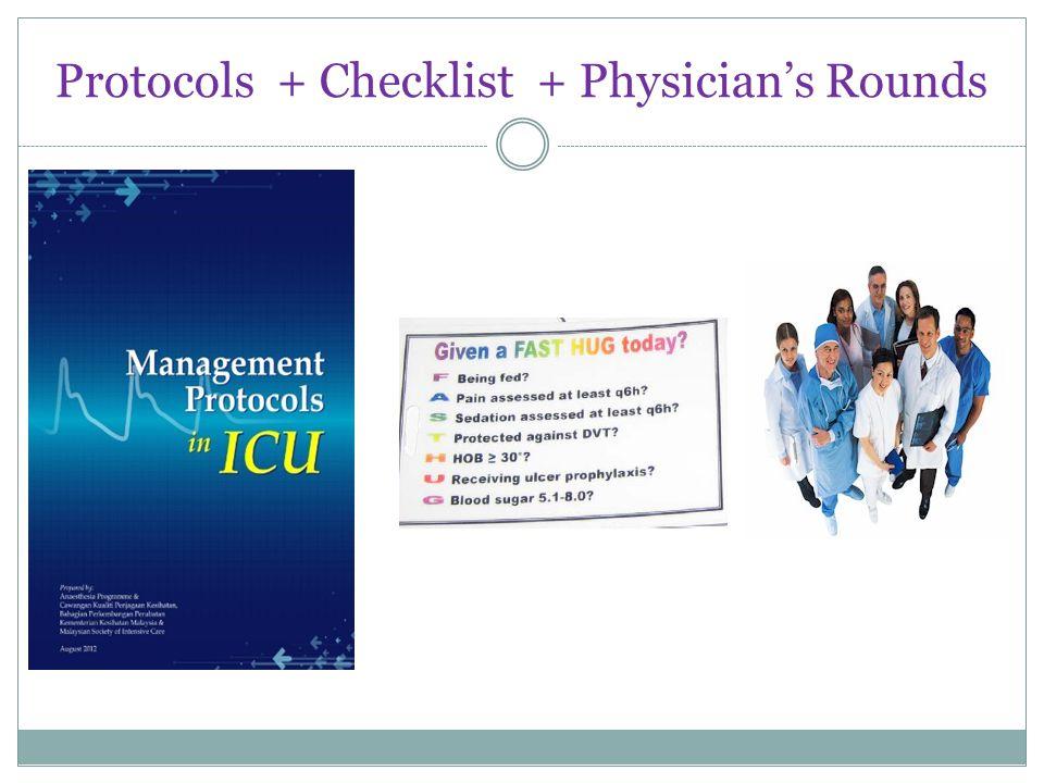 Protocols + Checklist + Physician's Rounds