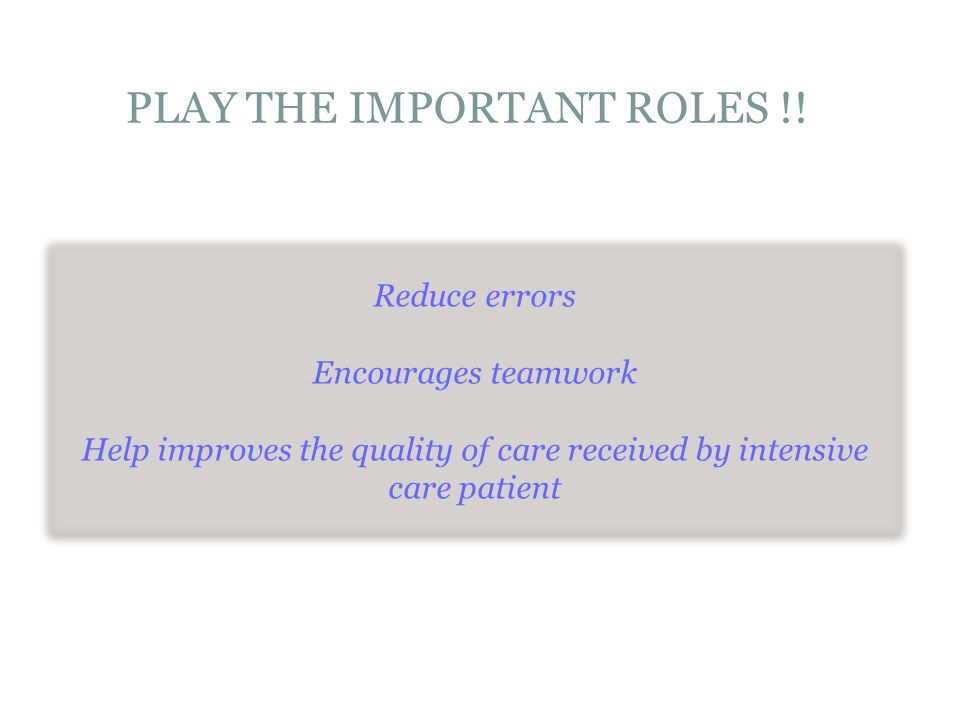 PLAY THE IMPORTANT ROLES !!