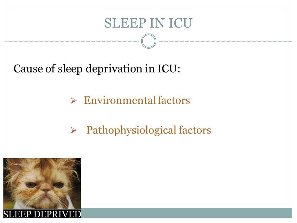 SLEEP IN ICU Cause of sleep deprivation in ICU: Environmental factors