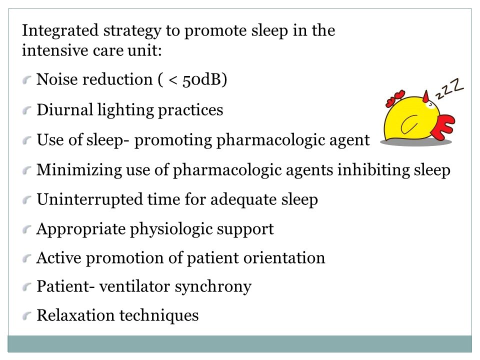 Integrated strategy to promote sleep in the