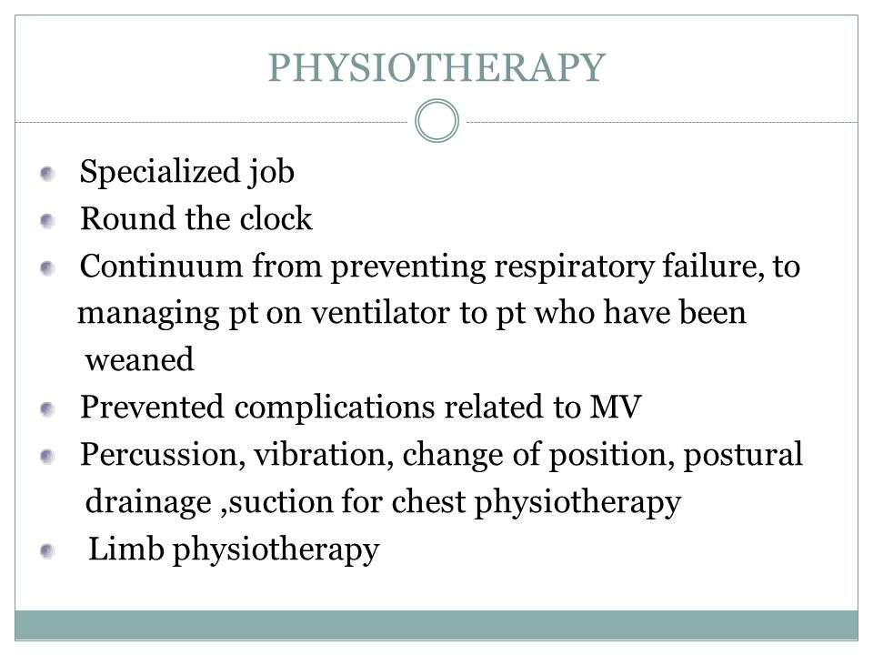 PHYSIOTHERAPY Specialized job Round the clock