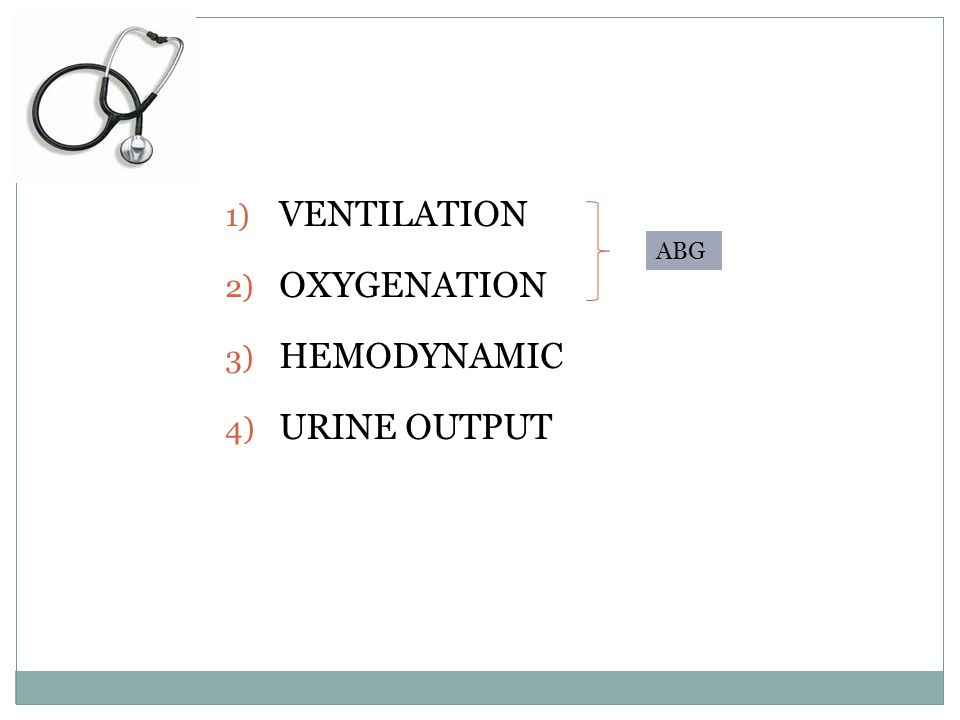 VENTILATION OXYGENATION HEMODYNAMIC URINE OUTPUT ABG