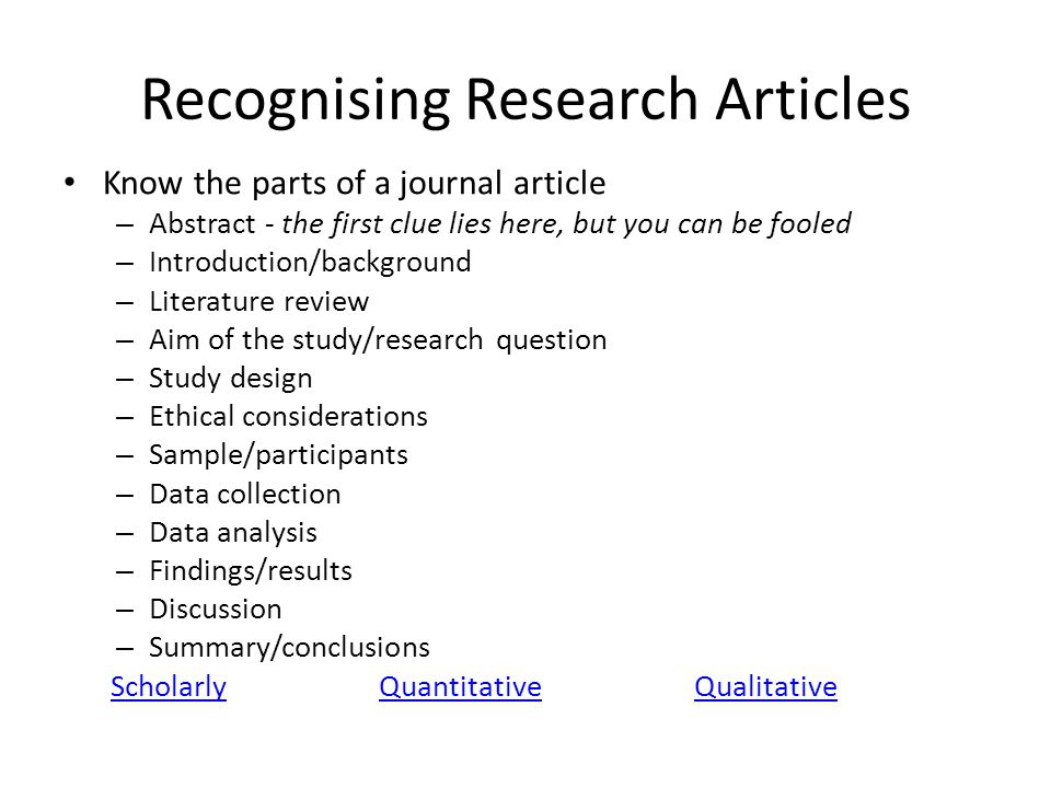 Recognising Research Articles