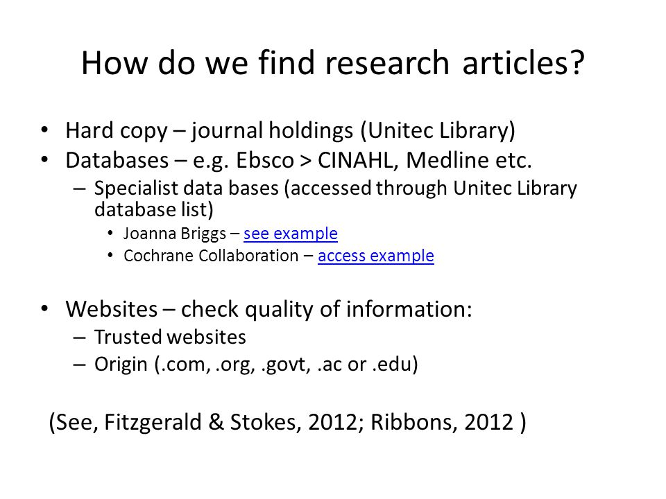 How do we find research articles
