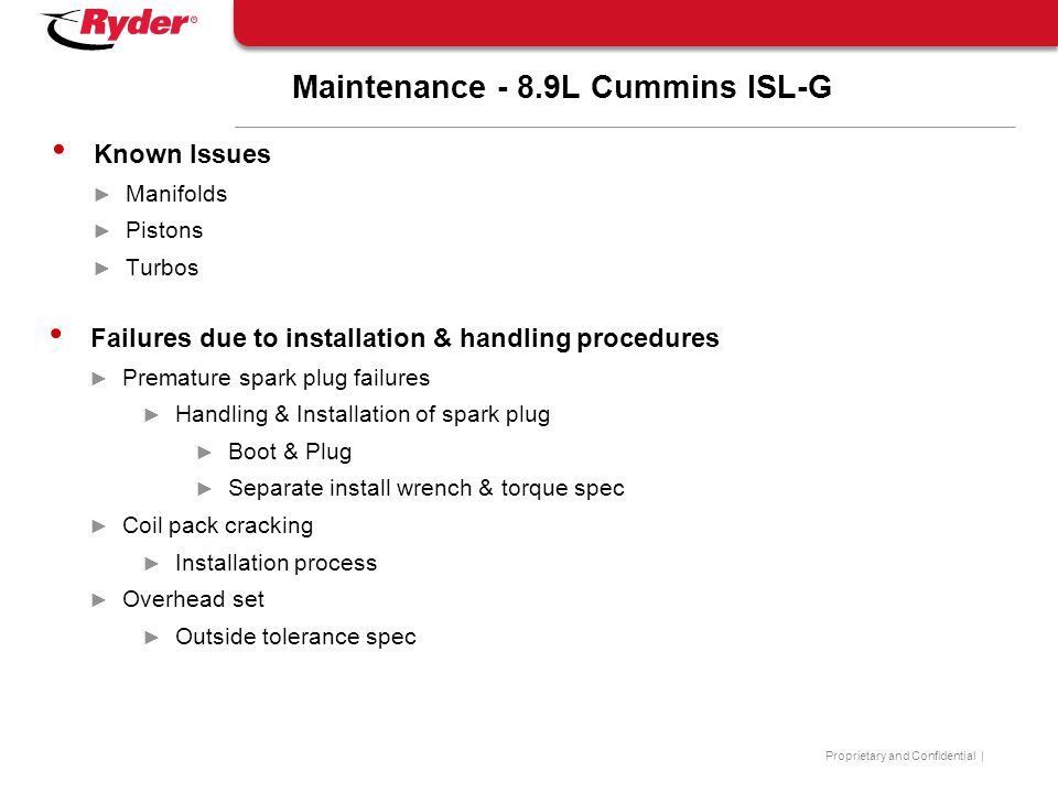 Maintenance - 8.9L Cummins ISL-G