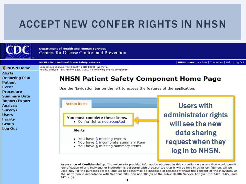 Accept new Confer Rights in NHSN