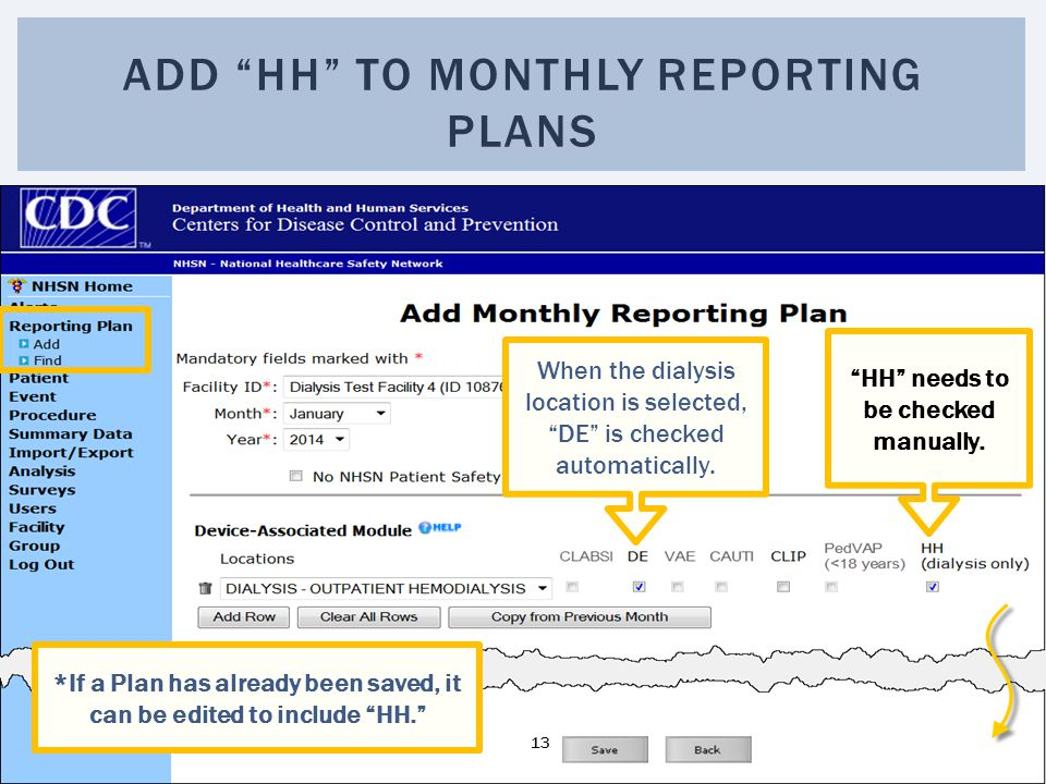 Add HH to monthly reporting plans