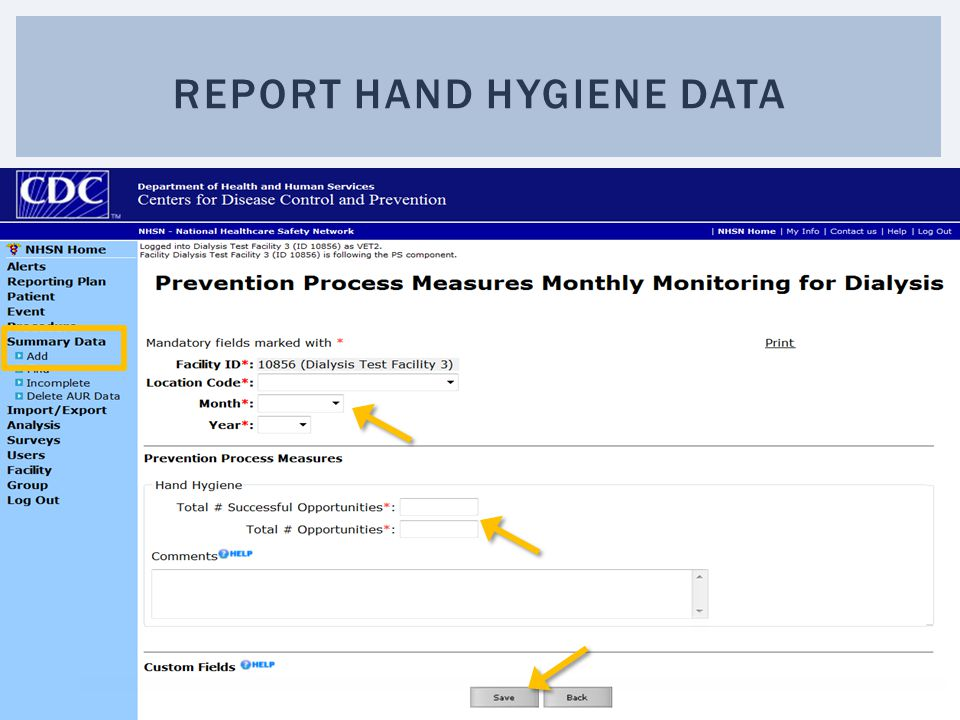 Report hand hygiene data