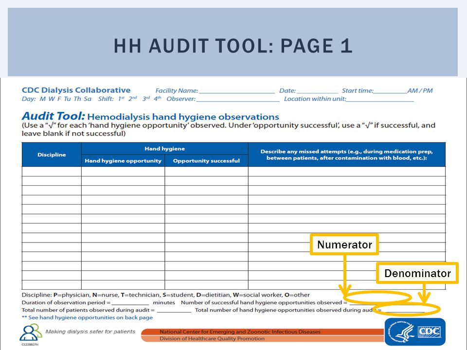 Hh audit tool: page 1 Numerator Denominator